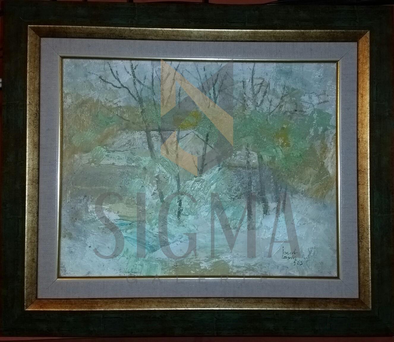 """TABLOU, IACOB LAZAR - """" IARNA """", U/P, 39 CM X 46 CM , 1984"""