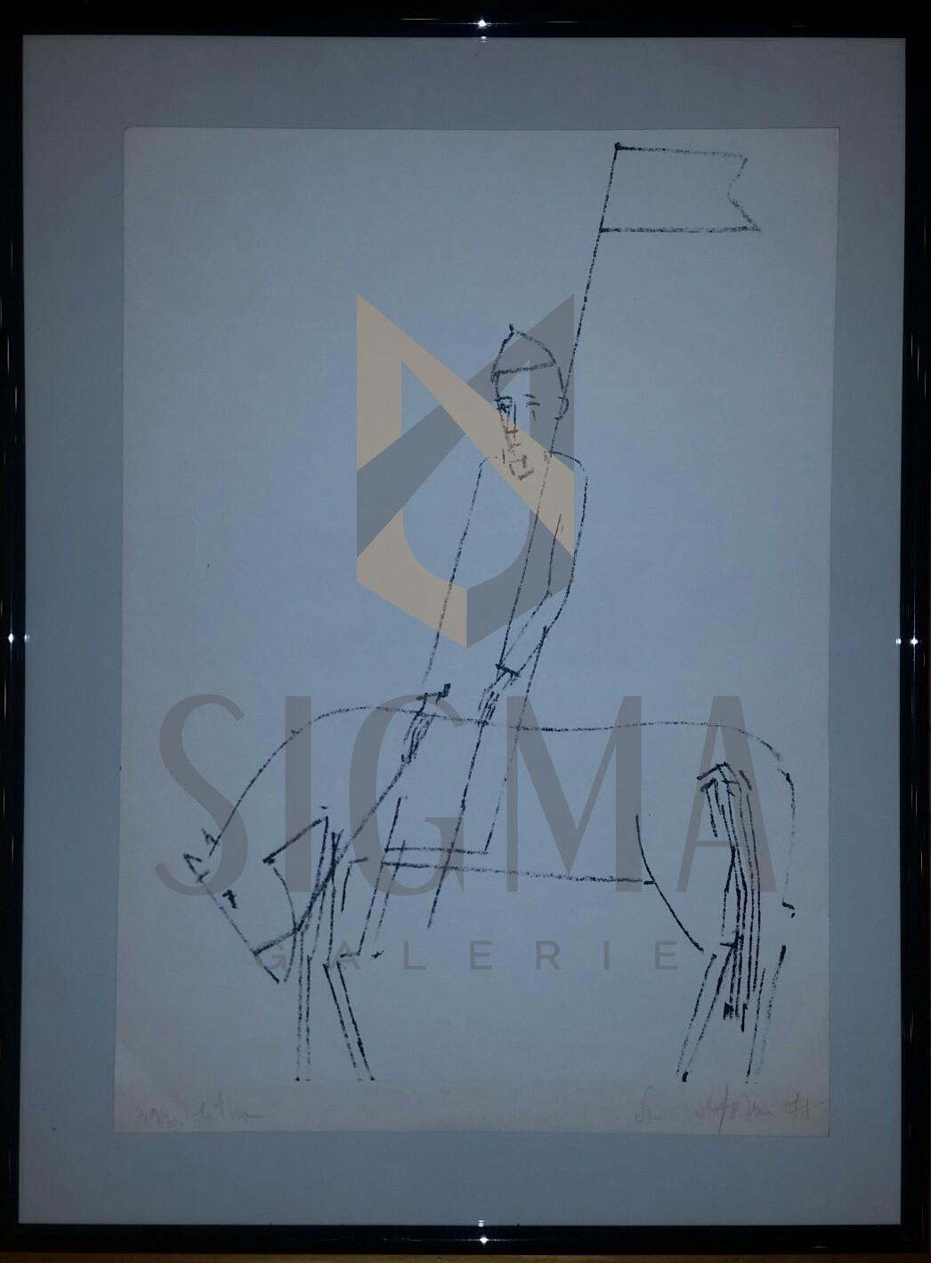 "LITOGRAFIE- SORIN ILFOVEANU  ""CALARET"" 1977"