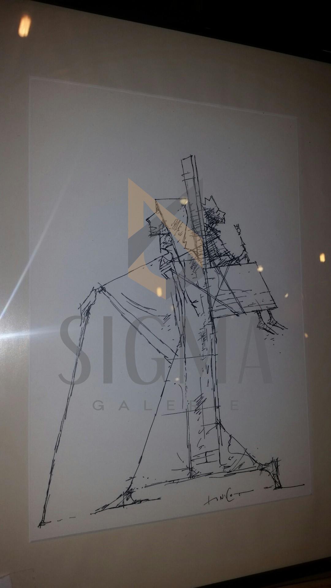 """TABLOU - ION IANCUT  """" PLIMBAREA TRONULUI """" tus-penita ( lucrare de atelier ),  2014"""