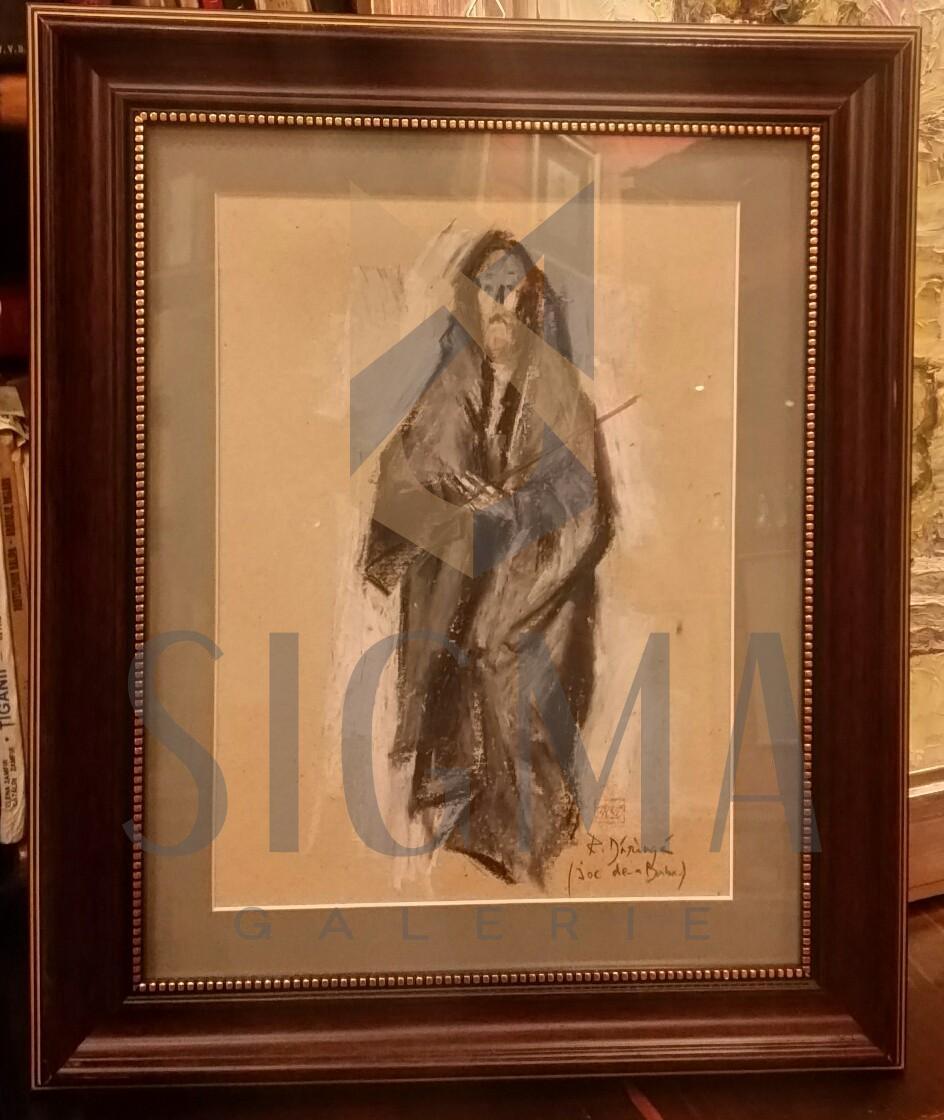 TABLOU, RADU DARANGA, JOC DE-A BABA, pastel 46 cm x 38 cm