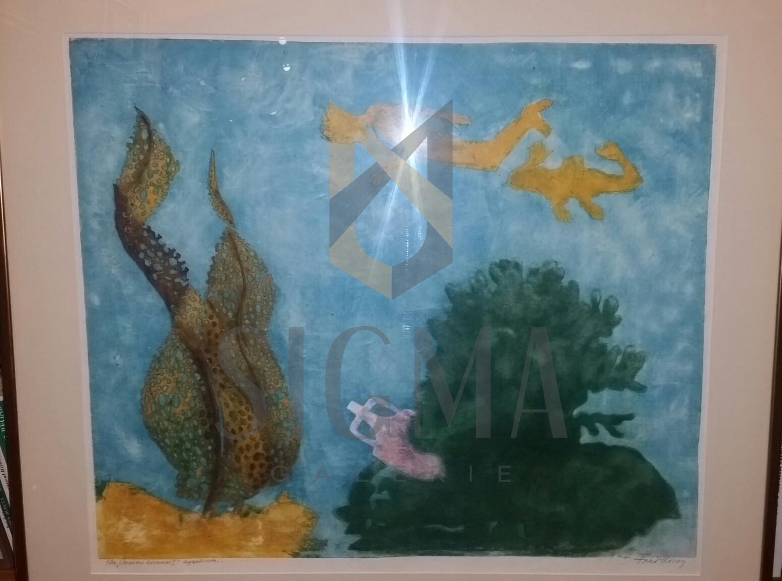 TABLOU FRED MICOS ( MICOSZ ), NAIADAE - acvatina color, 1978