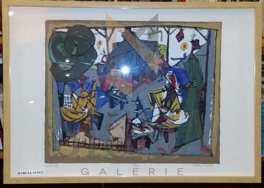 "TABLOU, MARCEL IANCU ( JANCO ) "" CAFE ARABE "" LITOGRAFIE COLOR, EX. 134/200 , 1970"
