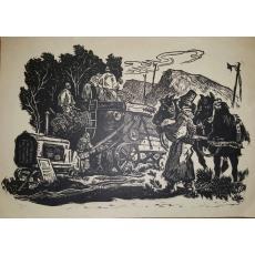 MARCEL  OLINESCU, TREIERATUL, LINOGRAVURA
