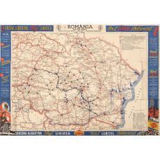 HARTA DRUMURILOR DIN ROMANIA - BENZINARII - LUBOIL - FORD, 1930