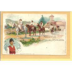 CARTE POSTALA, LITOGRAFIE, SALUTARI DIN ROMANIA, 1899