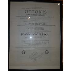 ION. N. ANGELESCU (1884-1930) - DIPOMA DE DOCTORAT IN STIINTE ECONOMICE - MUNCHEN [ echivalare Decan Dimitrie Alexandrescu ), 1913