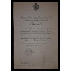 """BREVET, CRUCEA """" MERITUL SANITAR CLASA I """" , MINISTRU SANATATII ION CANTACUZINO, 1932"""