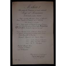 BREVET, COROANA ROMANIEI IN GRAD DE CAVALER, REGENTA, CANCELAR - G. G. MIRONESC, CANTACUZINO, 1929