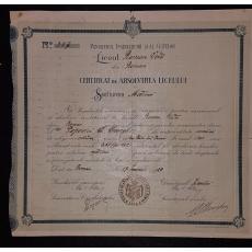 """CERTIFICAT DE ABSOLVIRE AL LICEULUI """" ROMAN-VODA' DIN ORASUL ROMAN, 1920"""
