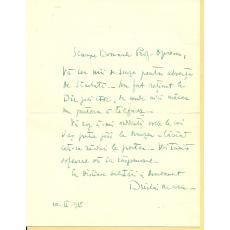 ARHITECT DUILIU MARCU - SCRISOARE ORIGINALA CATRE PROF. GEORGE OPERESCU, 1935