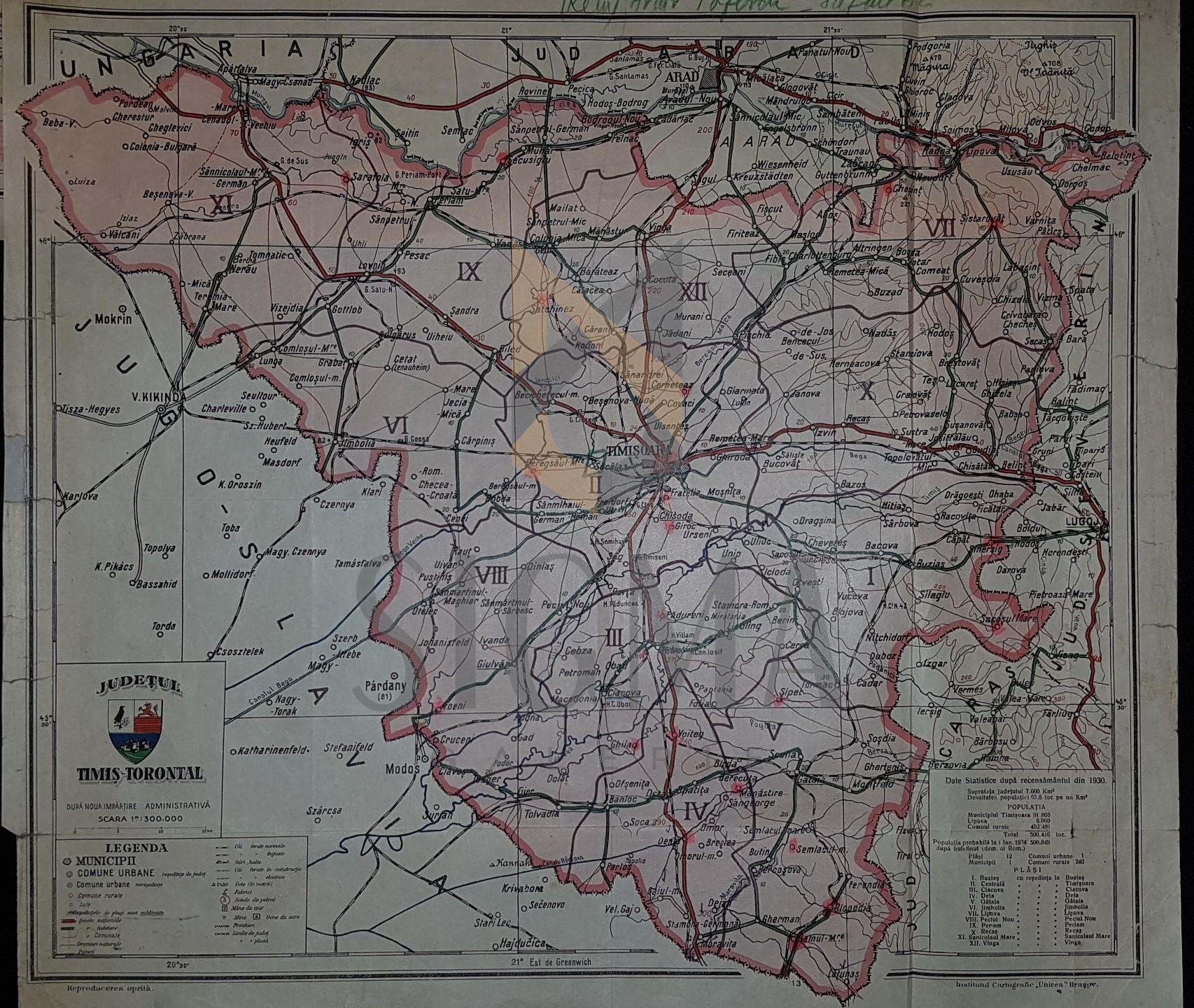 CONSTANTIN TEODORESCU (GENERAL), HARTA JUDETULUI TIMIS-TORONTAL (ROMANIA MARE), 1938