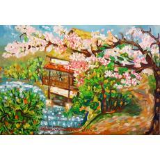 TABLOU, TEODOSIA AVRAM, SHURAKU - EN GARDEN OKAYAMA - JAPONIA, U.P.,  100 X 70 CM, 2010