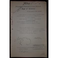 REGELE MIHAI, MIRON CRISTEA, BUZDUGAN, ARGETOIANU, DOCUMENT DE CANCELARIE, SEMNATURI ORIGINALE, CRIZA DINASTICA - REGENTA, 1928