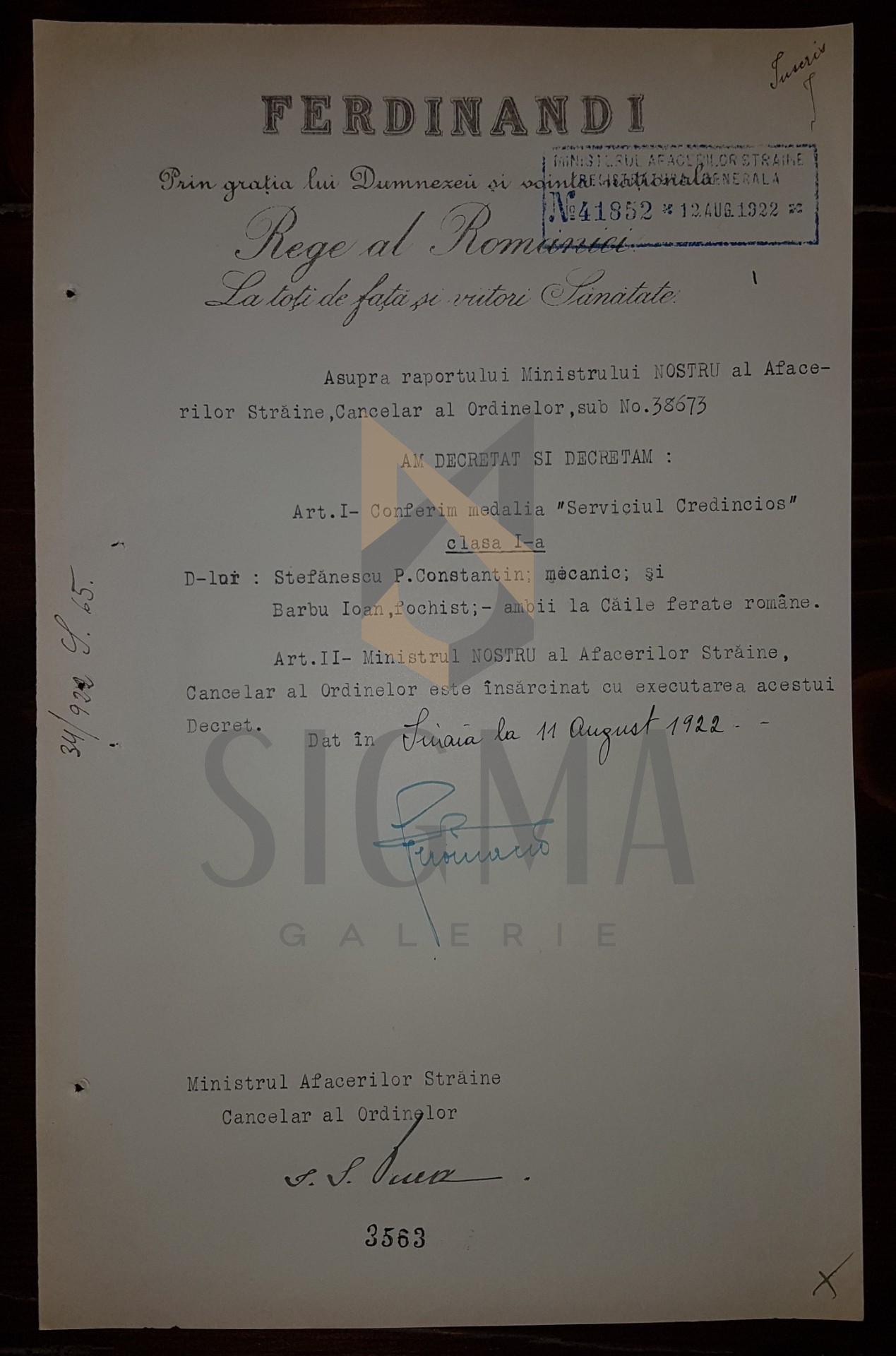 """REGELE FERDINAND, I. G. DUCA, DOCUMENT DE CANCELARIE, ORDINUL """" SERVICIUL CREDINCIOS """" , 1922"""