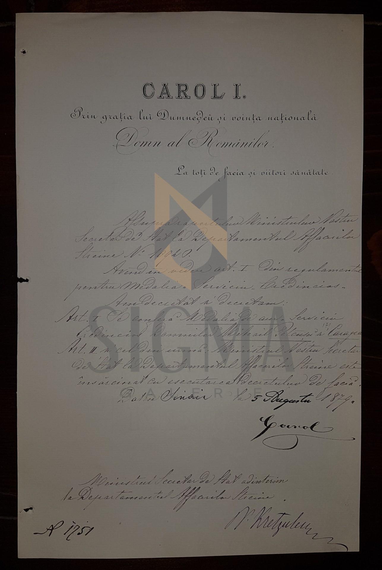 REGELE CAROL I SI NICOLAE KRETZULESCU , DOCUMENT DE CANCELARIE, SEMNATURI ORIGINALE!!!, 1879