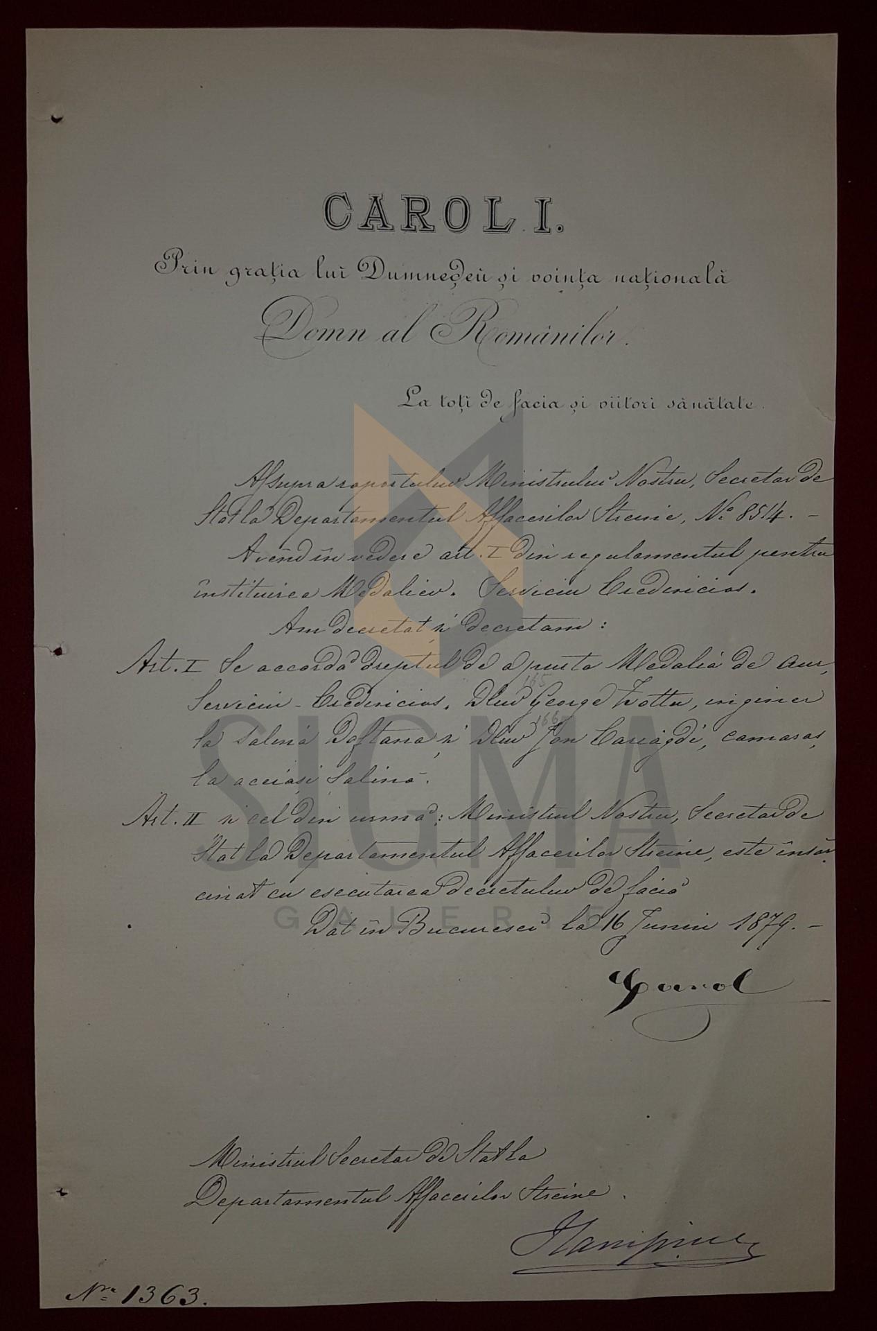 REGELE CAROL I SI ION CAMPINEANU , DOCUMENT DE CANCELARIE, SEMNATURI ORIGINALE!!!, 1879