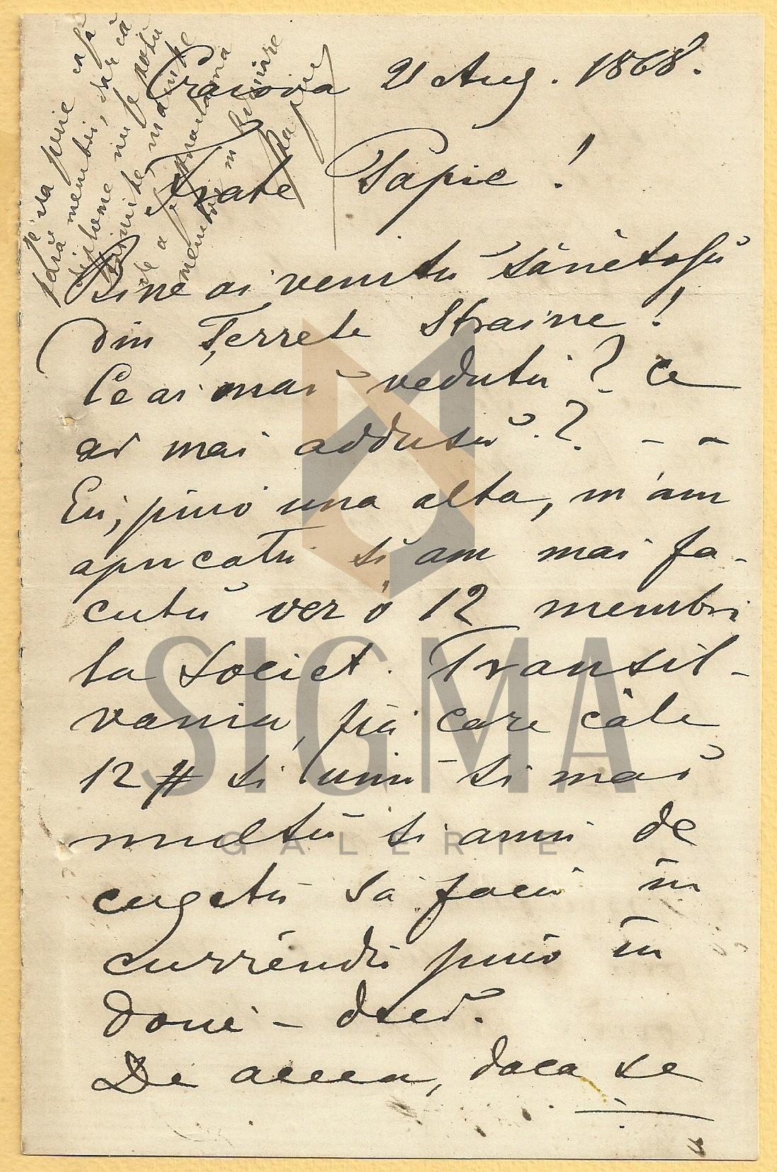 SCRISOARE SOCIETATEA TRANSILVANIA G. CHITU - AL. PAPIU ILARIAN , CRAIOVA 1868