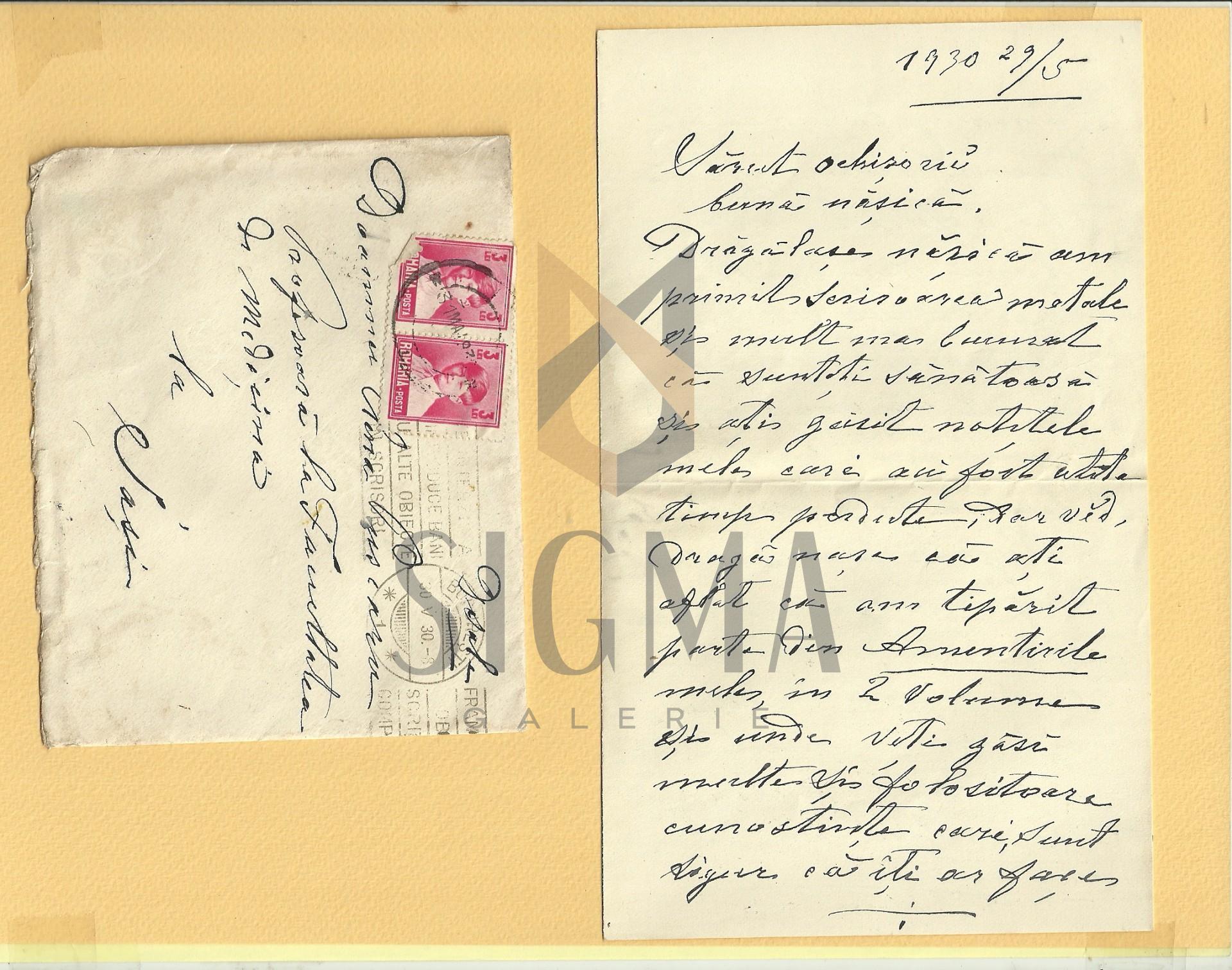 SCRISOARE, DOCTORUL C. D. SEVEREANU CATRE MARIA PUSCARIU, IASI, 1930