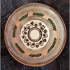 Farfurie din ceramica Horezu, realizata manual de mesterii din Horezu, semnate, diametru=24cm