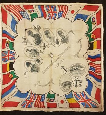 """SUVENIR DIN MARELE RAZBOI, 1918, """"STEAGURI"""" TARI PARTICIPANTE, PE MATASE !!!"""