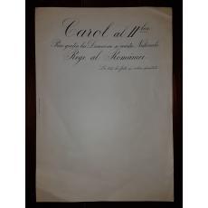 HARTIE - DOCUMENT DE CANCELARIE, REGELE CAROL al II-lea