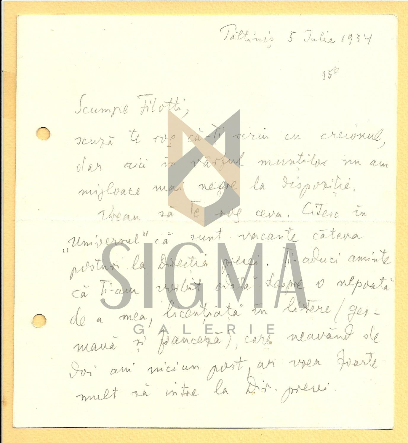 SCRISOARE, LUCIAN BLAGA catre EUGEN FILOTTI, Paltinis, 1934