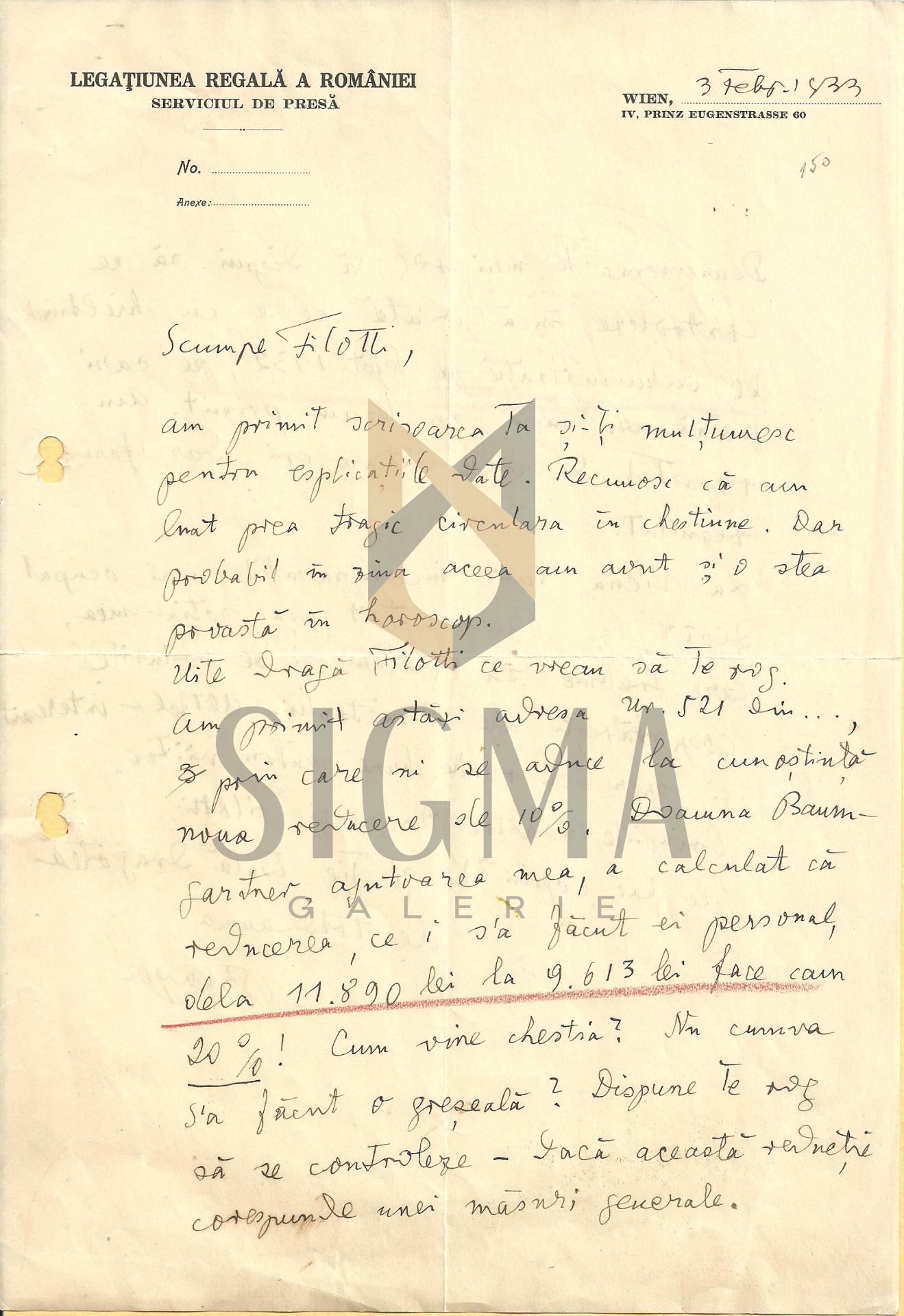 SCRISOARE , LUCIAN BLAGA CATRE EUGEN FILOTTI , LEGATIA REGALA A ROMANIEI, VIENA ,  februarie 1933