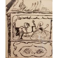 """TABLOU, PETRE IORGULESCU YOR, """"TEATRU DE PAPUSI"""",  TUS/HARTIE"""