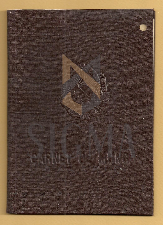 """CORNELIU MEDREA, CARNET DE MUNCA, INSTITUTUL DE ARTE GRAFICE """" NICOLAE GRIGORESCU"""" , 1960"""