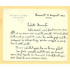 MUZEUL SIMU, MARIUS  BUNESCU SCRISOARE CATRE EMANOIL BUCUTA, 9 AUGUST, 1944