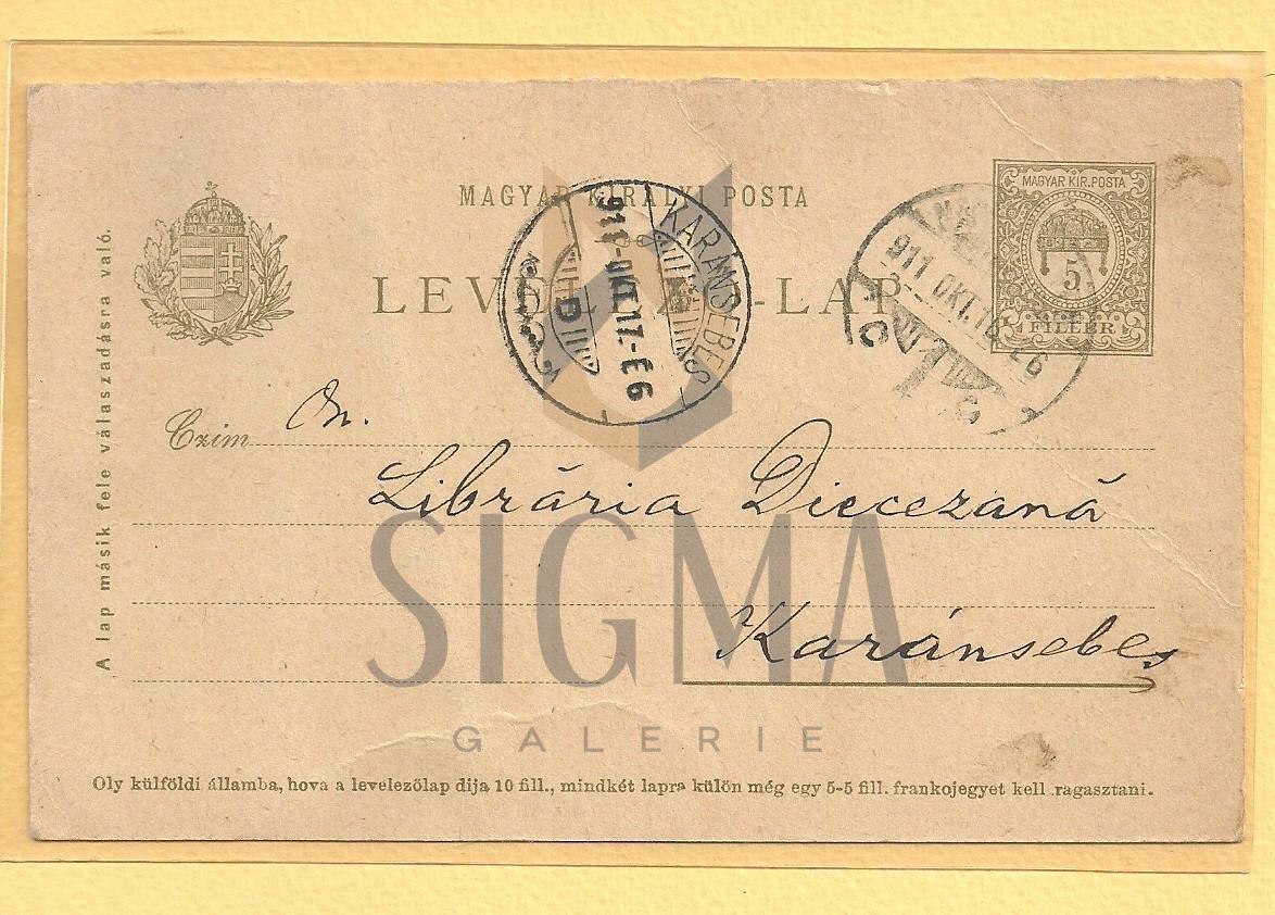 CARTE POSTALA, DOCUMENT , ENEA HODOS ( folclorist roman )  CATRE LIBRARIA DIECEZANA CARAN-SEBES, 1911