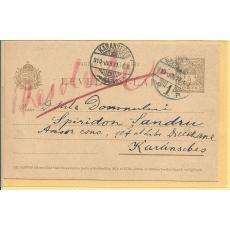 CARTE POSTALA, DOCUMENT , ENEA HODOS ( folclorist roman )  CATRE LIBRARIA DIECEZANA , CARAN-SEBES, 1910