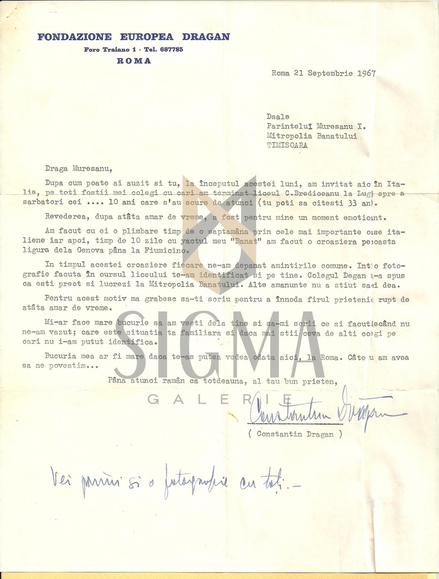 "SCRISOARE DACTILOGRAFIATA, CU ANTET ""FUNDATIA CONSTANTIN DRAGAN"", ROMA, SEMNATA I. C. DRAGAN, 1967"