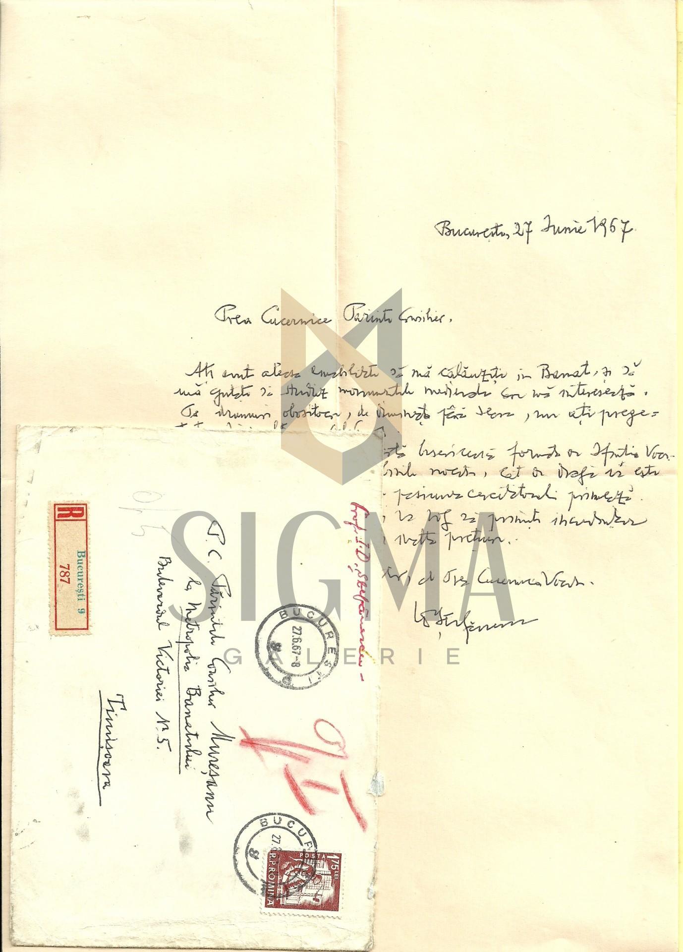 SCRISOARE CU PLIC, EXPEDIATA DE I. D. STEFANESCU ( bizantinolog, istoric de arta ) CATRE Preotul  I. MURESANU, 1967