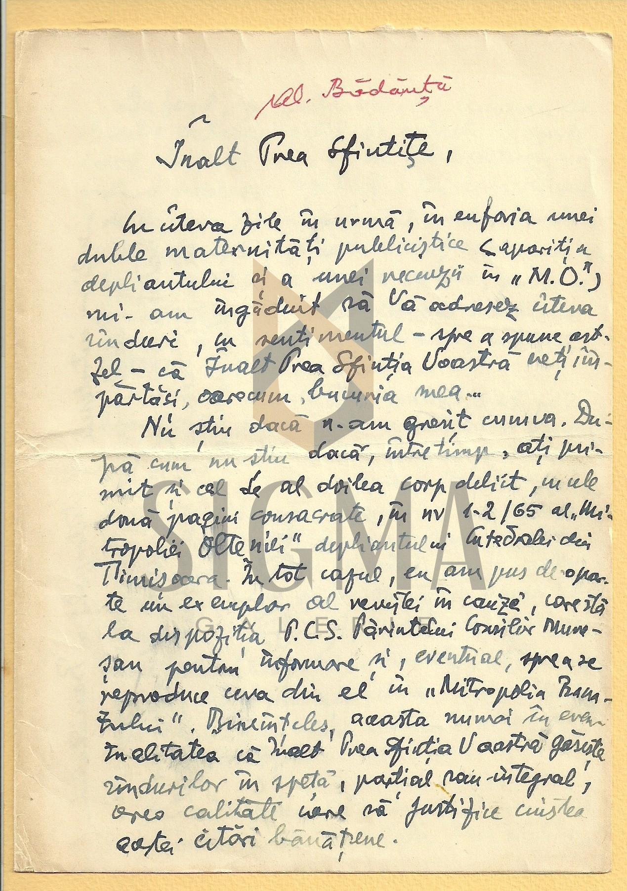 SCRISOARE,  AL. BADAUTA CATRE PREOTUL I. MURESANNU, 3 XII 1974