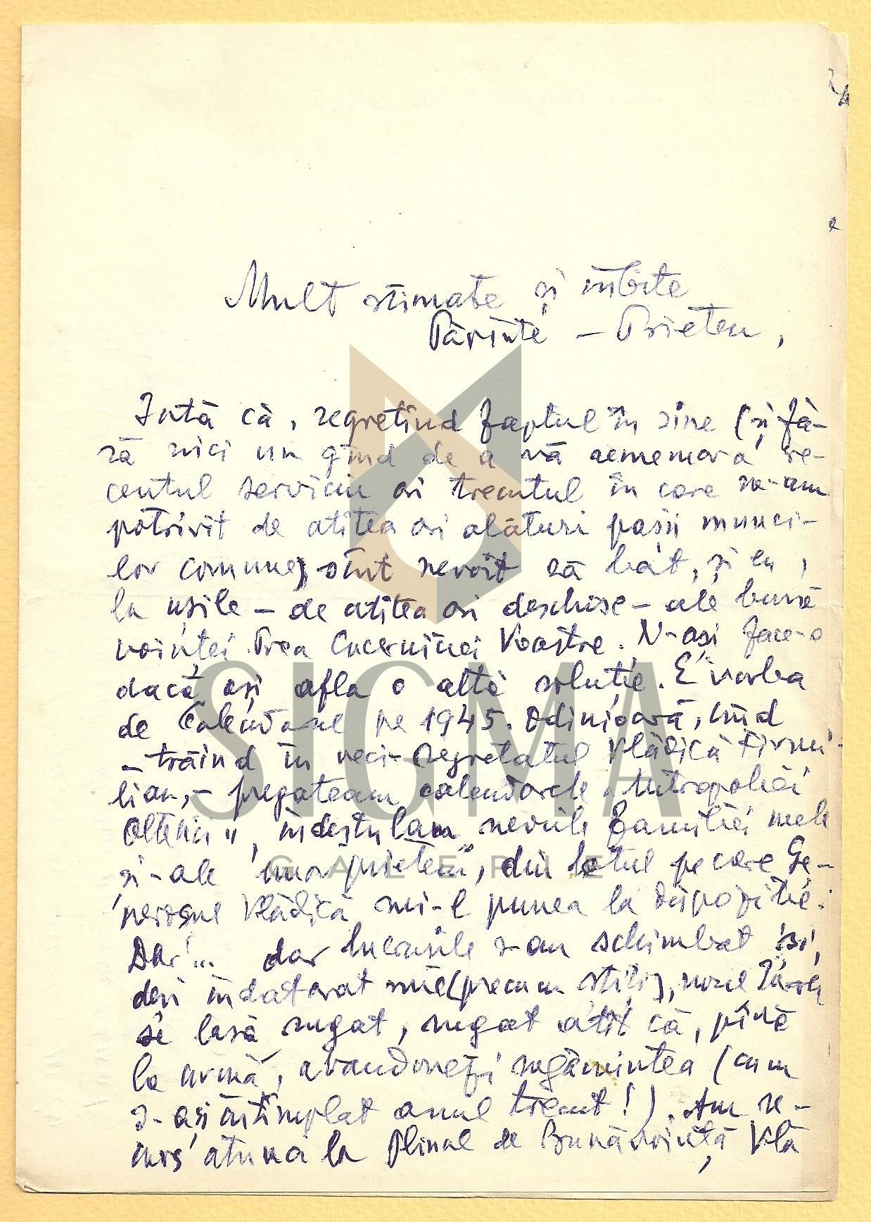SCRISOARE, AL. BADAUTA CATRE PREOTUL I. MURESANU, 1 AUG. 1965