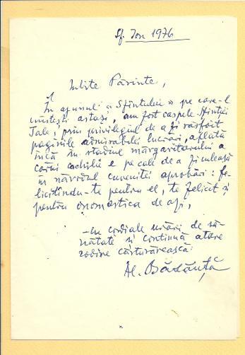 SCRISOARE, AL. BADAUTA CATRE PREOTUL I. MURESANU, 7 IANUARIE. 1976
