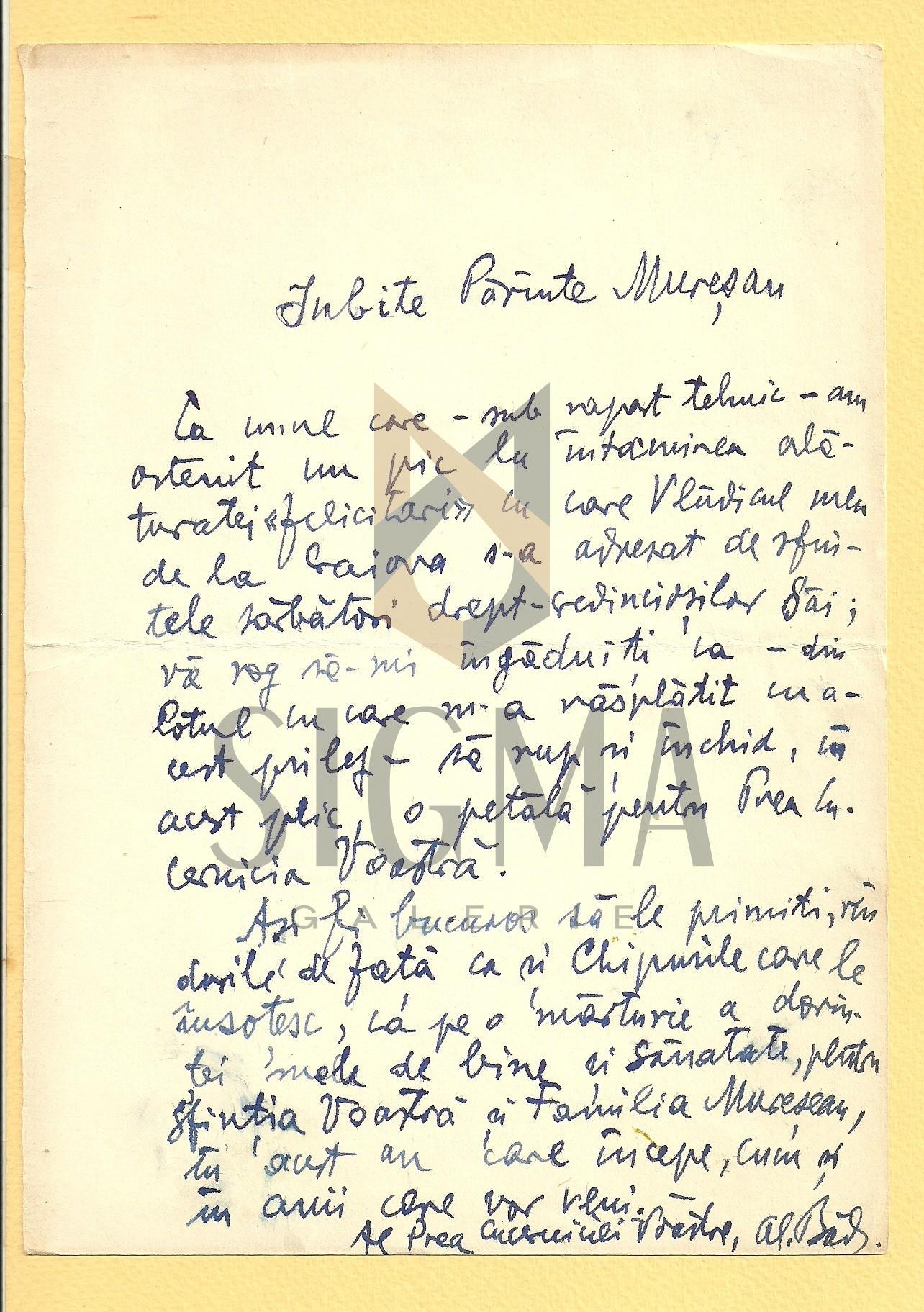 SCRISOARE, AL. BADAUTA CATRE PREOTUL I. MURESANU