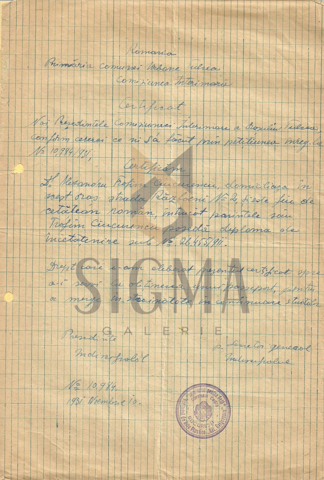 ALEXANDRU CIUCURENCU, CERTIFICAT ELIBERAT DE PRIMARIA COMUNEI TULCEA IN OBTINEREA PASAPORTULUI, 1931