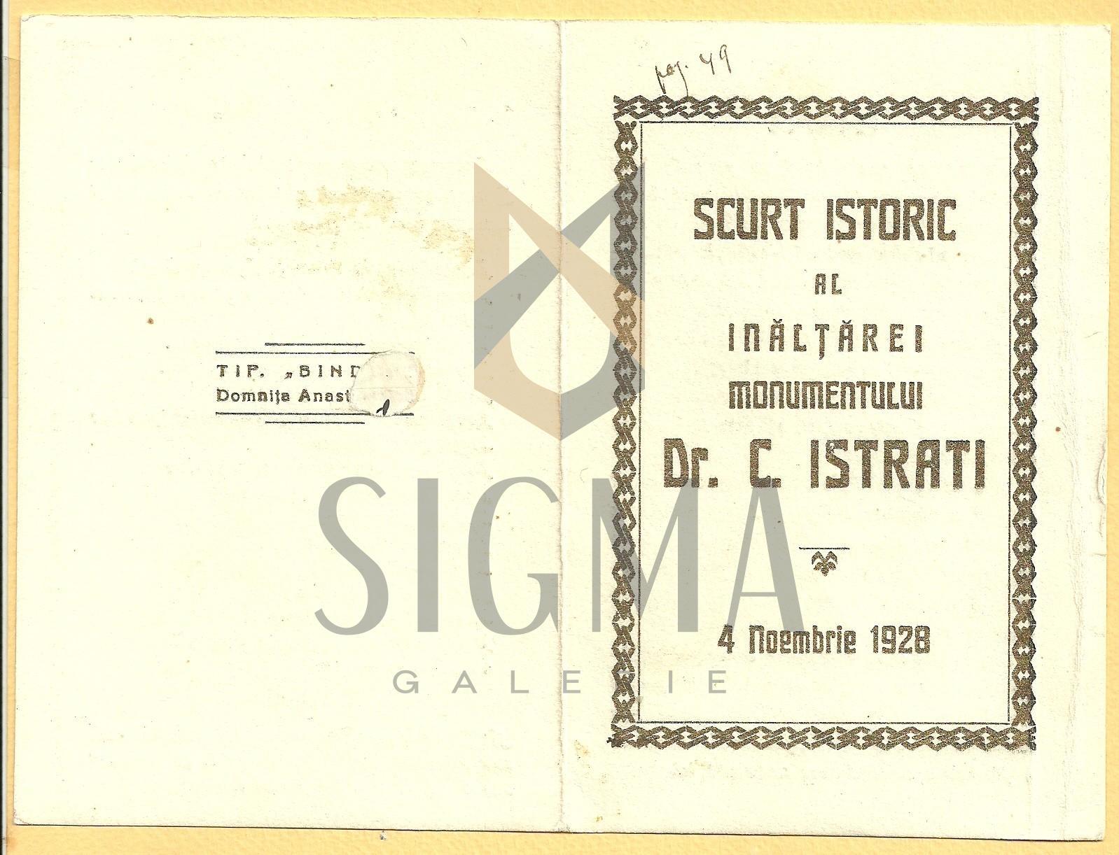 """PLIANT DE EXPOZITIE-INAUGURARE A BUSTULUI """" DR. IC. ISTRATI"""" 4 NOIEMBRIE 1928"""