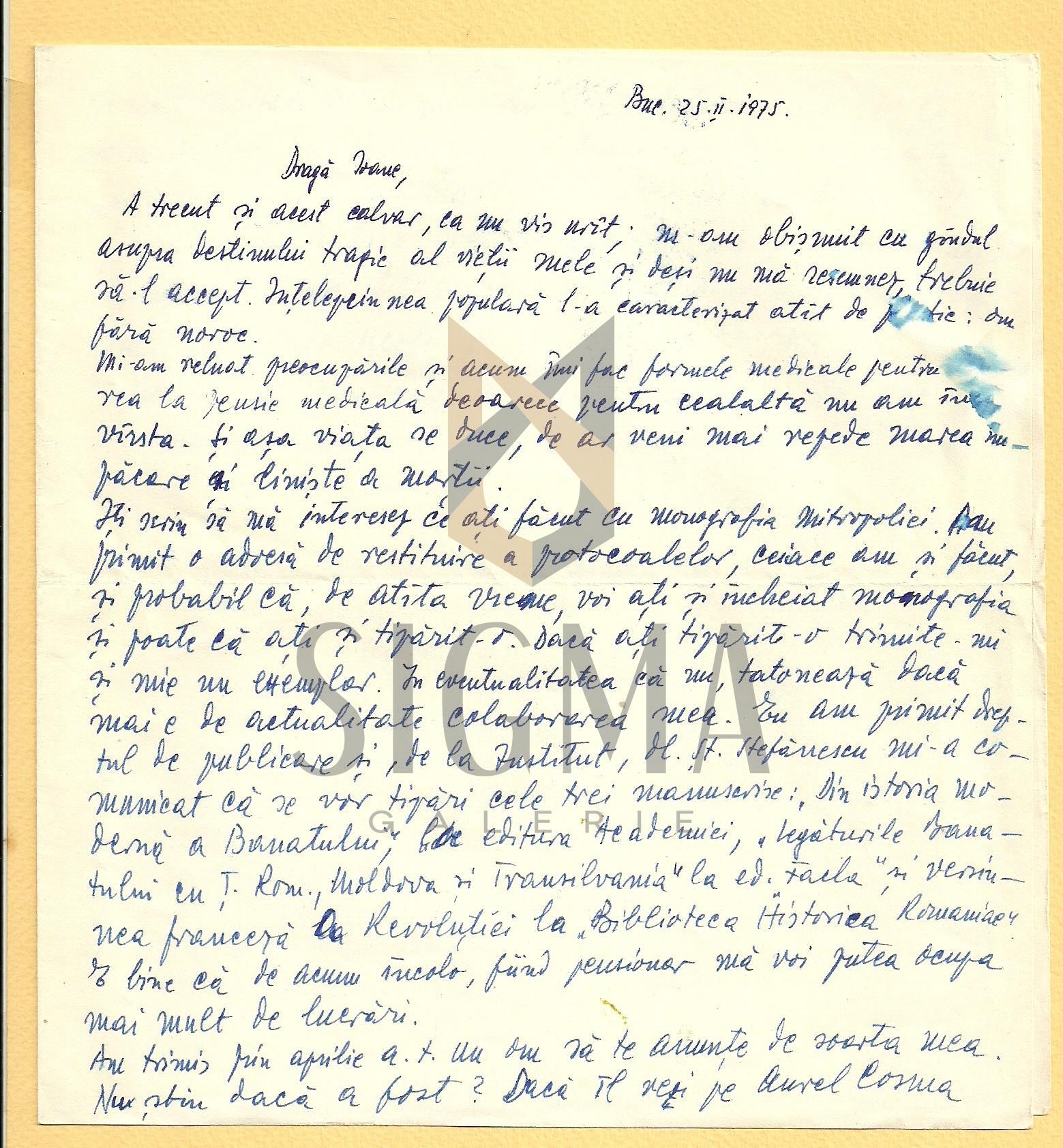 SCRISOARE, I. D. SUCIU ( ISTORIC BANATEAN )  CATRE PREOTUL IOAN MURESAN , 1975