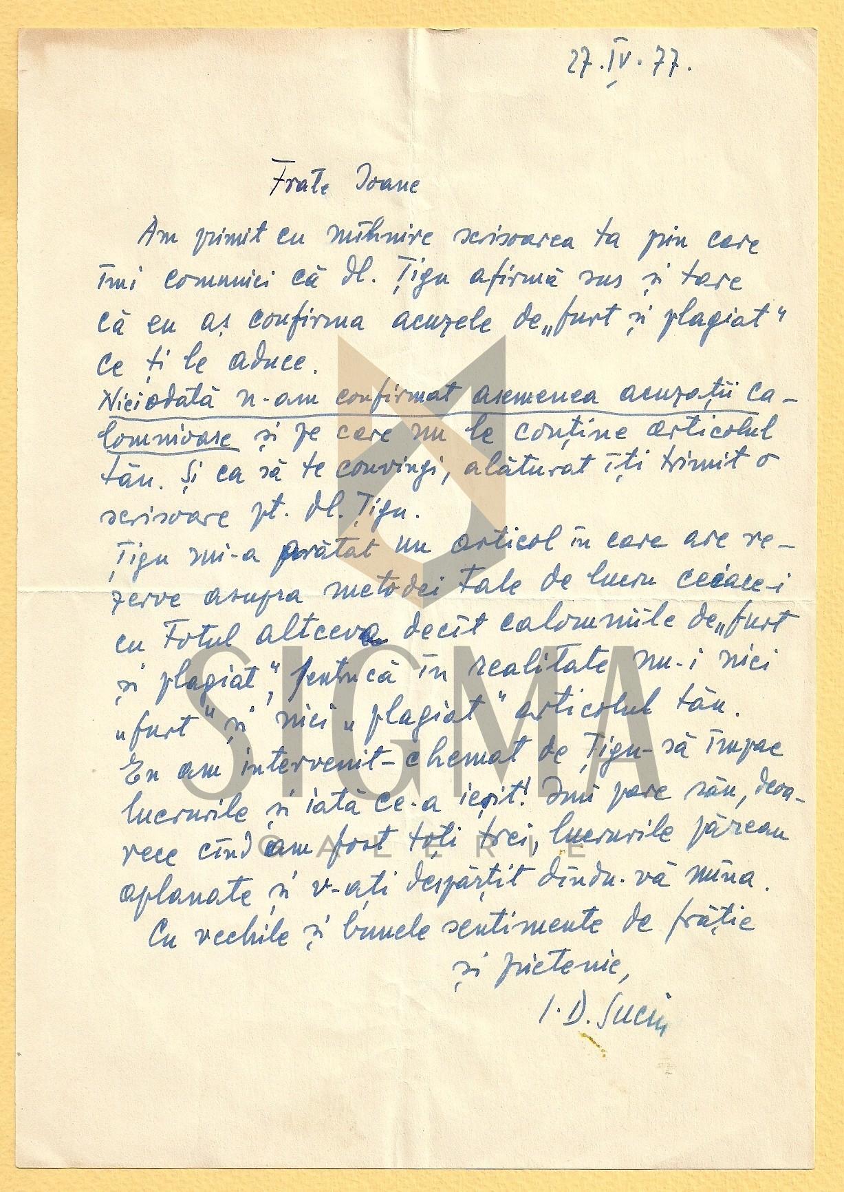 SCRISOARE, I. D. SUCIU ( ISTORIC BANATEAN )  CATRE PREOTUL IOAN MURESAN , 1977