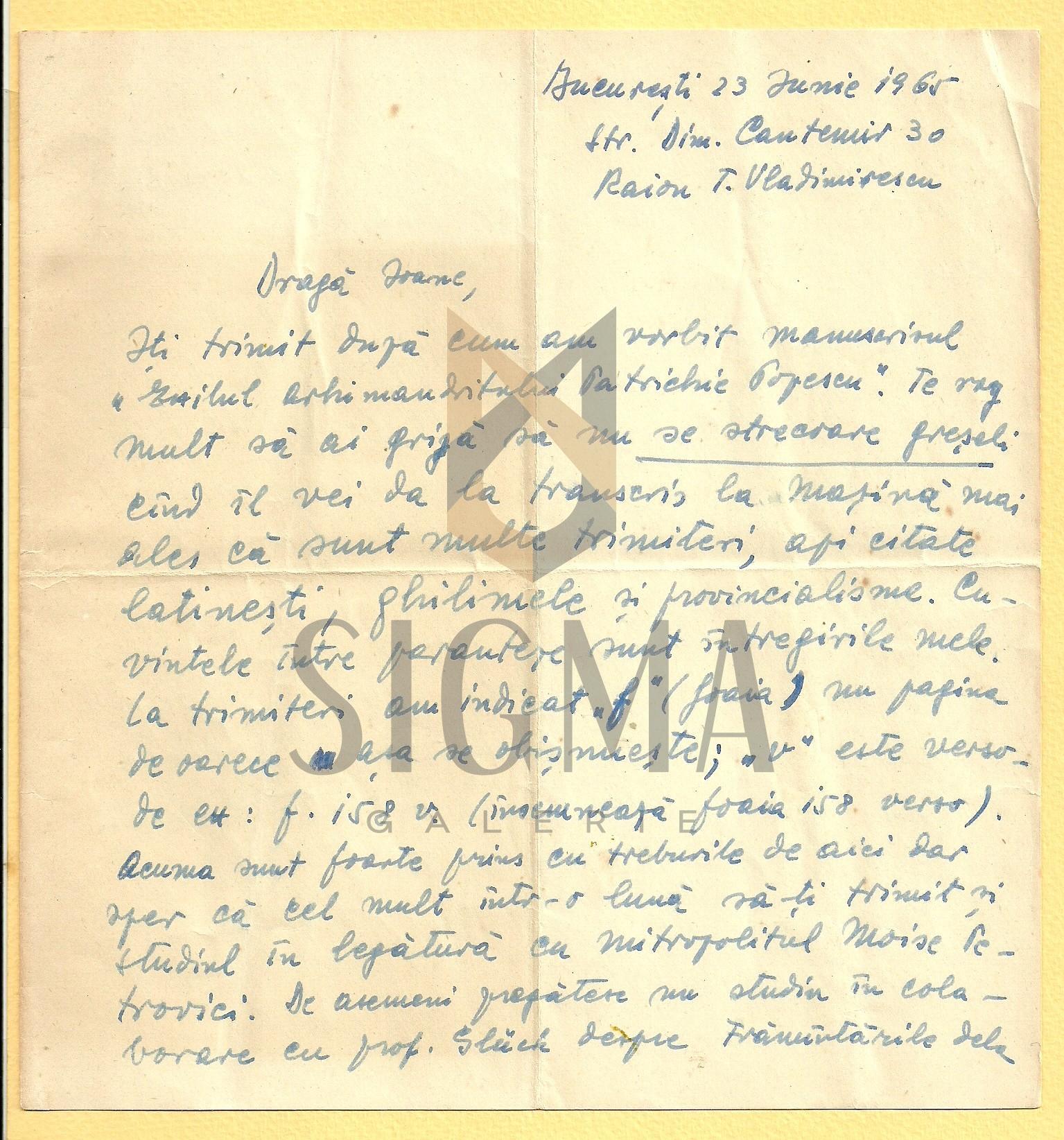 SCRISOARE, I. D. SUCIU ( ISTORIC BANATEAN )  CATRE PREOTUL IOAN MURESAN , 1965