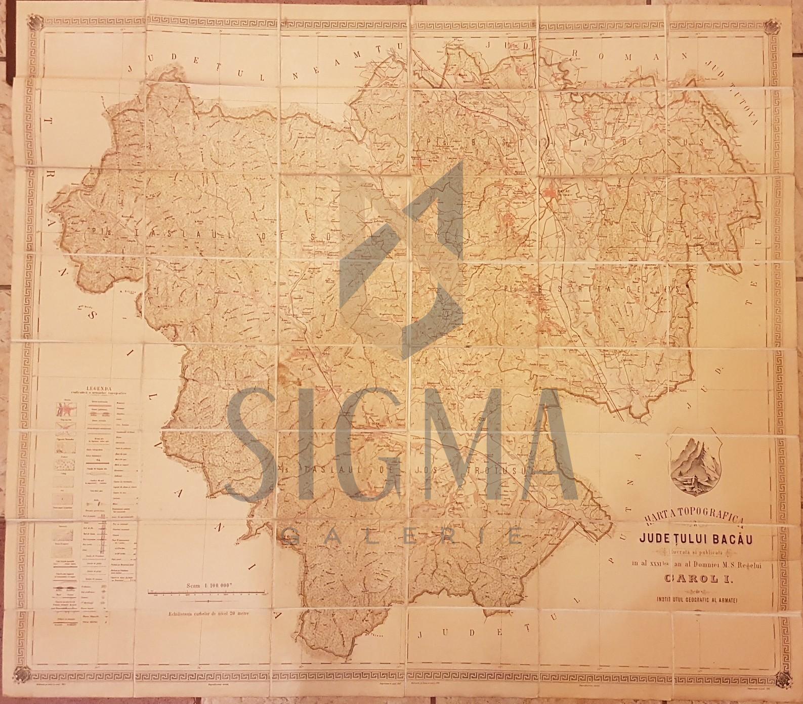HARTA TOPOGRAFICA A  JUDETULUI BACAU, in timpul Domniei lui CAROL I , Institutul Geografic al Armatei, 1897