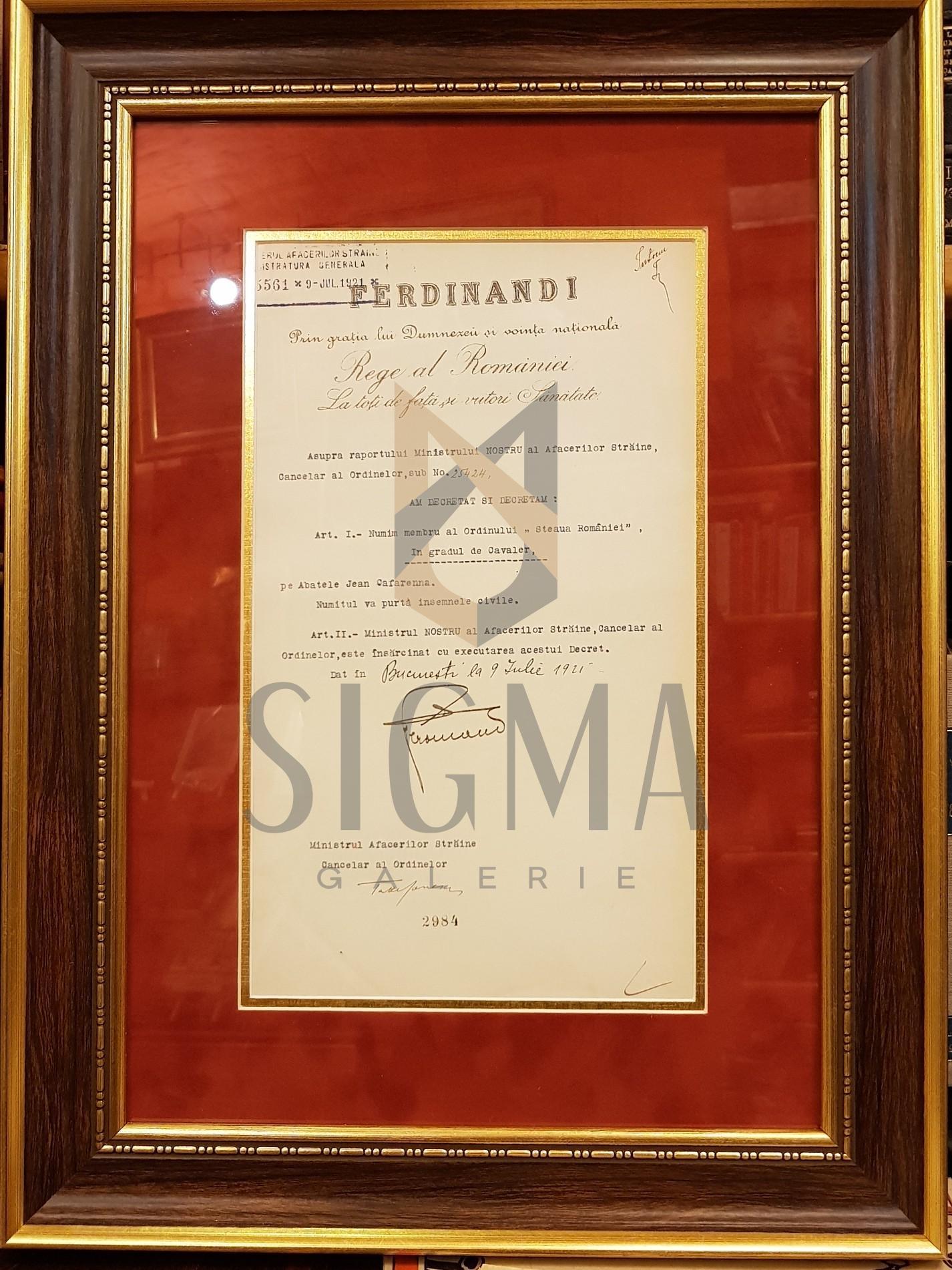 """REGELE """"FERDINAND I"""" si """"TAKE IONESCU"""" (Ministrul Afacerilor Straine), Document de Cancelarie, 9 Iulie 1921 (Semnaturi In Original !)"""