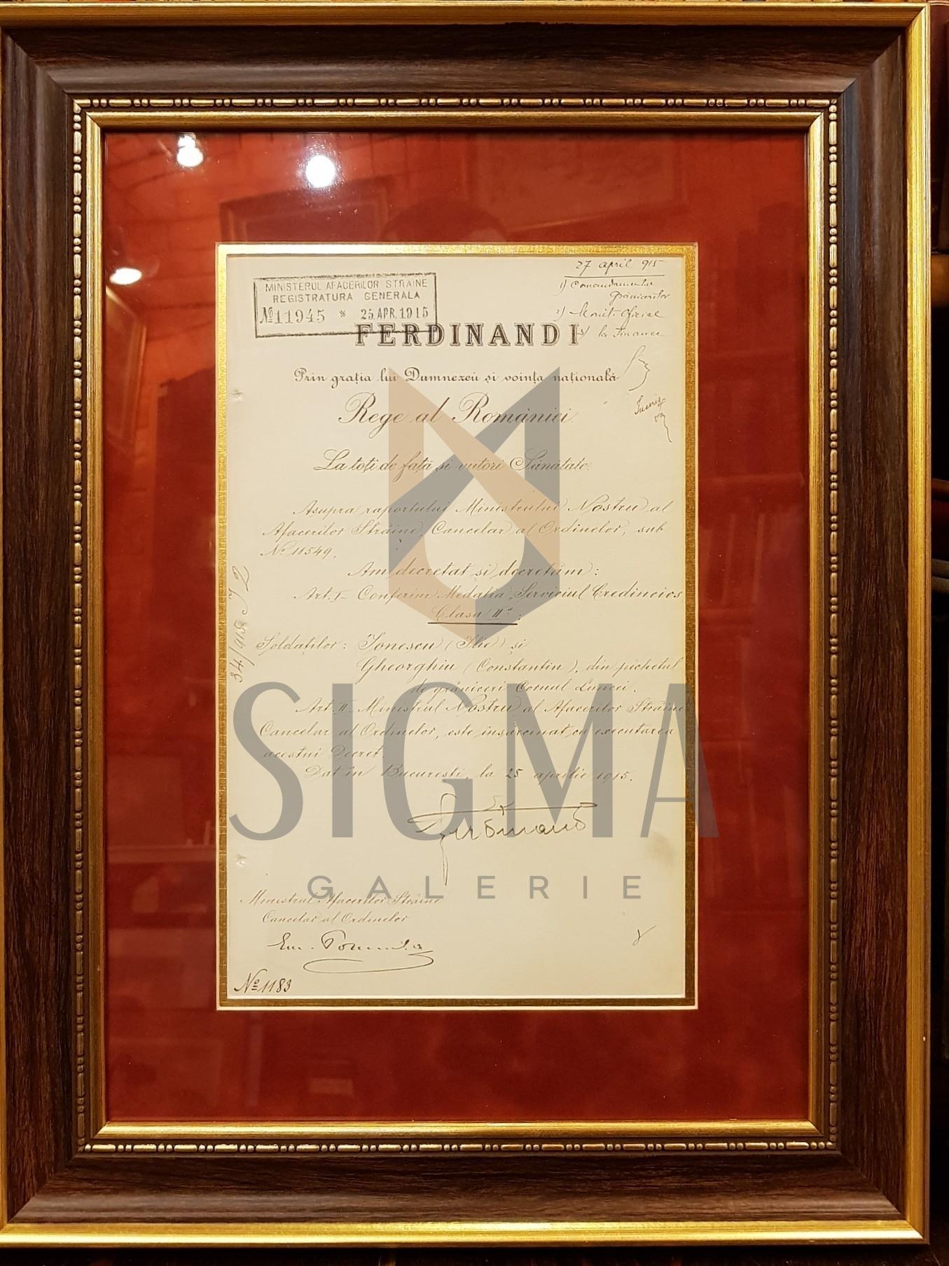 """REGELE """"FERDINAND I"""" si """"EMANOIL PORUMBARU"""" (Ministrul Afacerilor Straine), Document de Cancelarie, 25 Aprilie 1915 (Semnaturi In Original !)"""