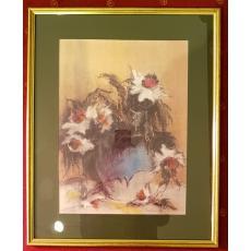 """TABLOU, NECULAI CIOCHINA """"FLORI IMORTELE"""", 2002, Pastel /Carton"""