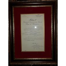 """REGELE """"MIHAI I"""" si """"ION ANTONESCU"""" (Conducatorul Statului si Ministrul ad-interim la Departamentul Afacerilor Straine), Document de Cancelarie, 9 Mai 1941 (Semnaturi In Original !)"""