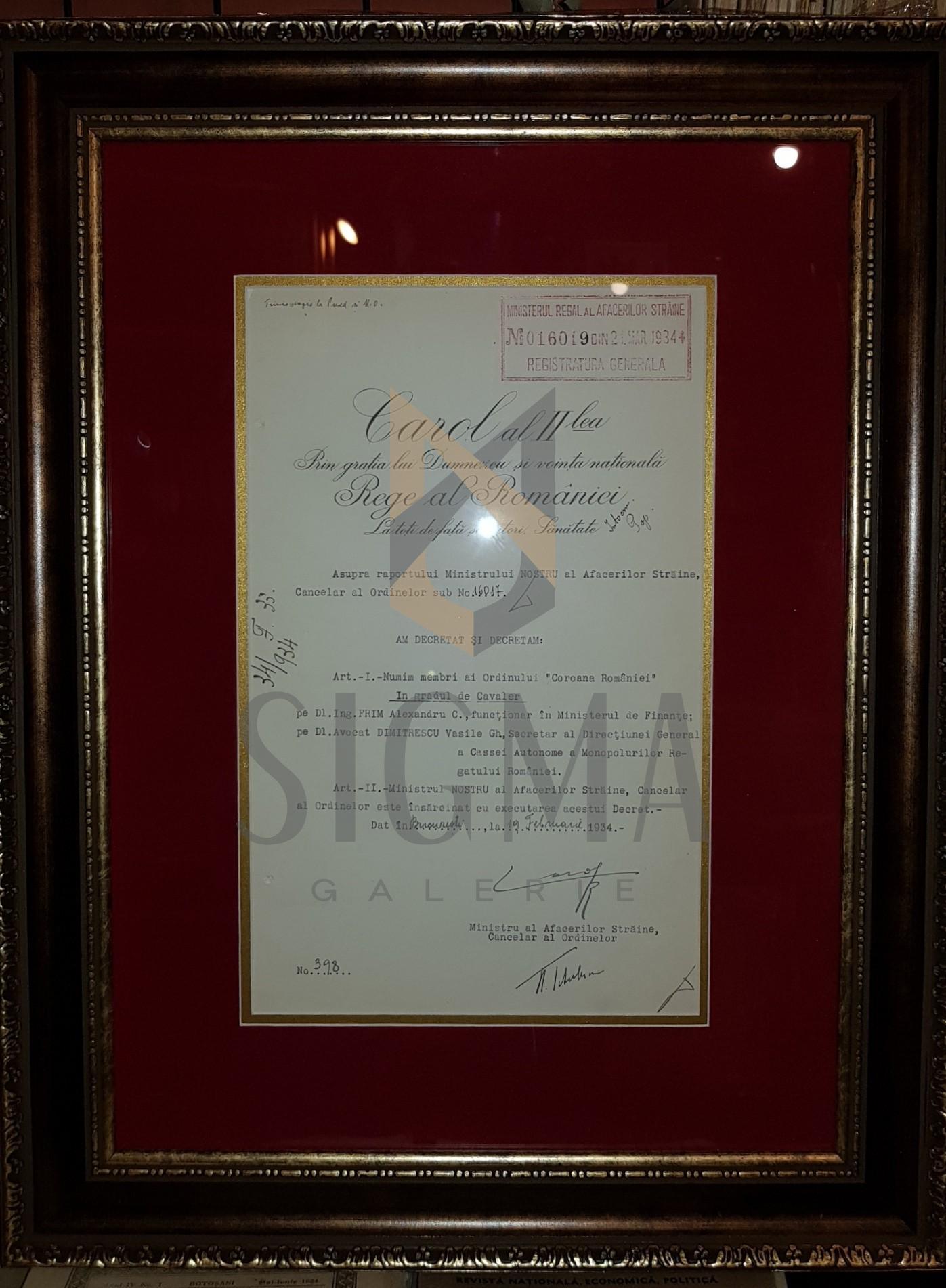 """REGELE """"CAROL II"""" si """"NICOLAE TITULESCU"""" (Ministrul Afacerilor Straine), Document de Cancelarie, 19 Februarie 1934 (Semnaturi In Original !)"""