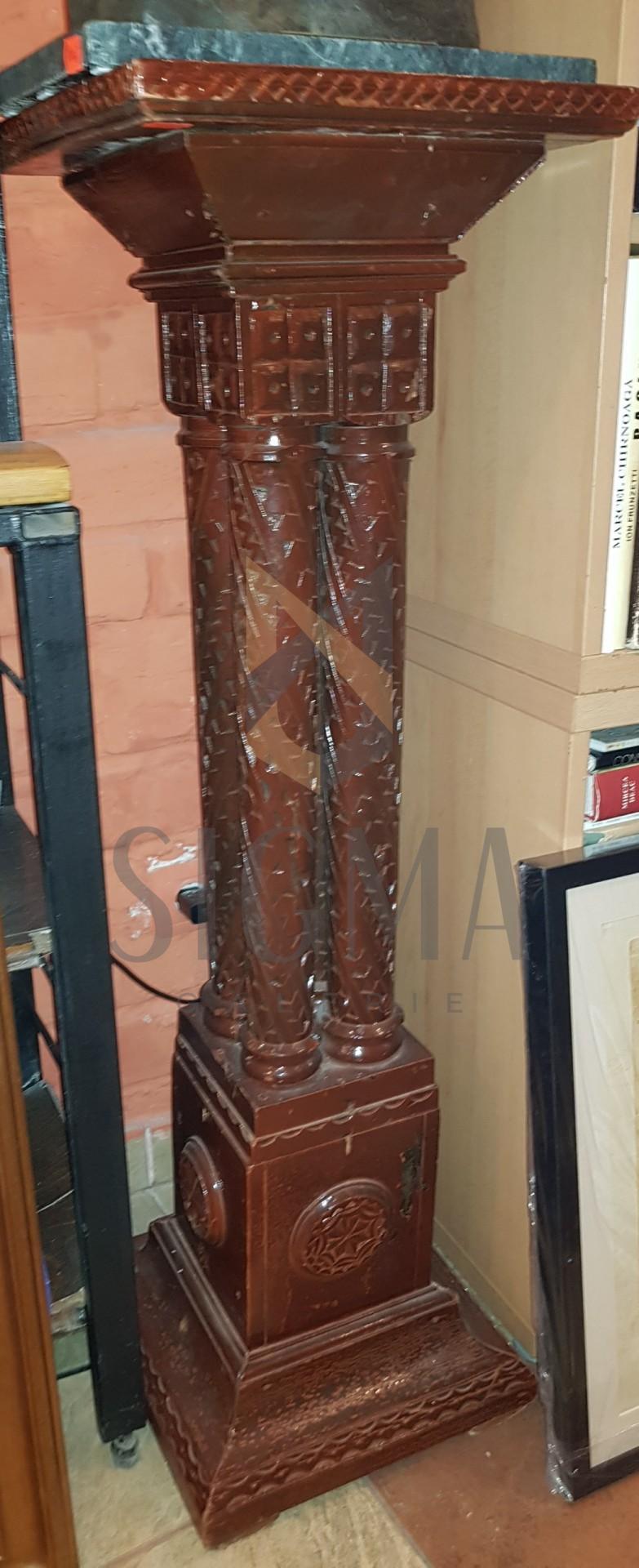 "PIEDESTAL din LEMN, Sculptat In Stil ""NEOBRANCOVENESC"", H = 104cm."